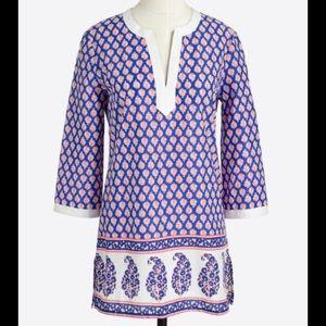 J. Crew Printed paisley poplin V-neck tunic